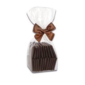150g Beutel mit Waffelblättern aus Zartbitterschokolade der Esther Confiserie