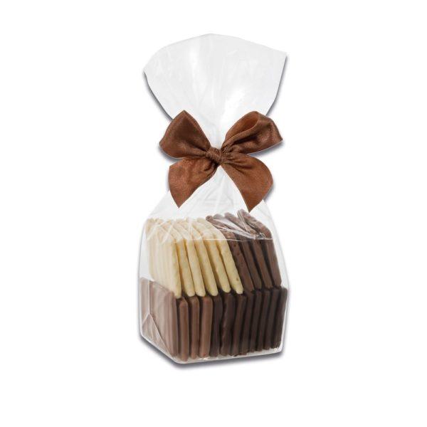 150g Beutel mit gemischten Waffelblätter aus Zartbitterschokolade, Weißer Schkolade und Vollmilchschokolade der Esther Confiserie
