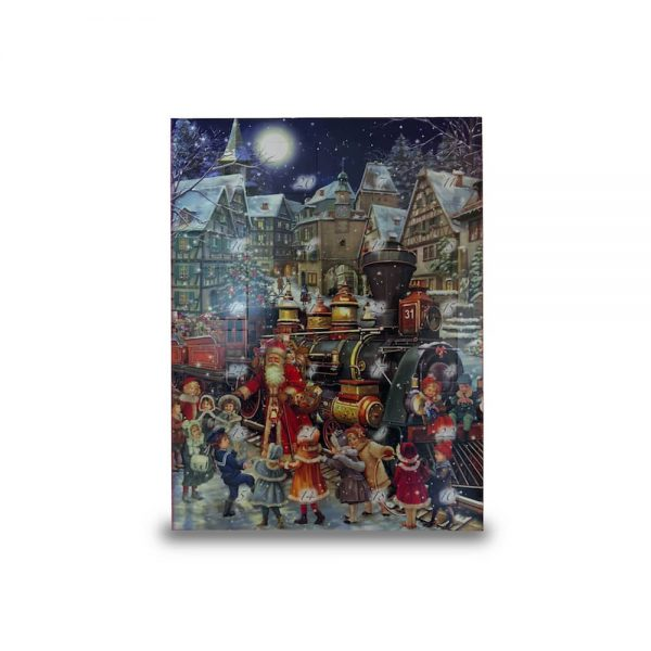 Motiv weihnachtliche Stadt Adventskalender mit Alkohol gefüllt mit verschiedenen Pralinen der Esther Confiserie aus Kulmbach