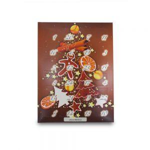 Motiv Lebkuchenbaum Adventskalender ohne Alkohol gefüllt mit verschiedenen Trüffeln der Esther Confiserie aus Kulmbach