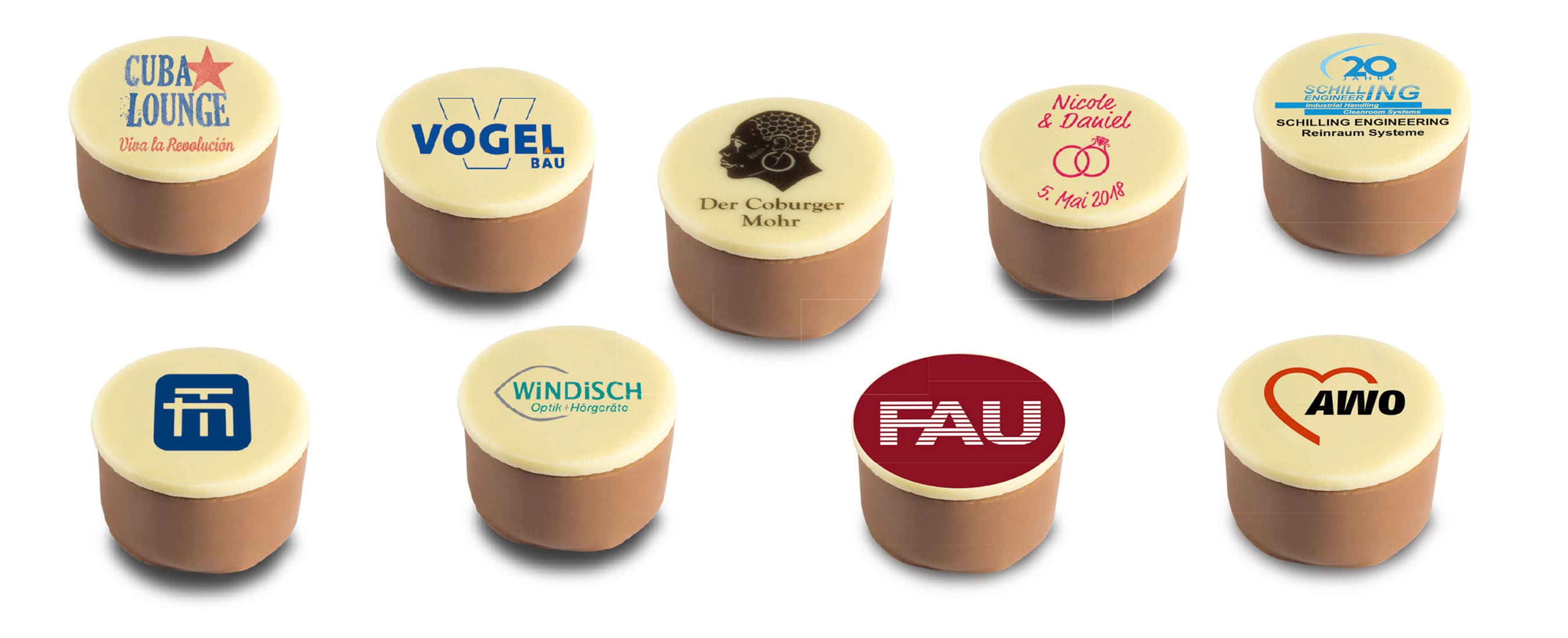 Logopralinen und Trüffel mit verschiedenen Füllungen mit und ohne Alkohol der Esther Confiserie aus Kulmbach in Oberfranken