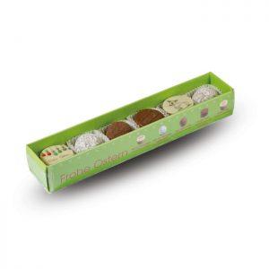 6er Pralinenstange Frohe Ostern mit sechs verschiedenen Trüffeln und Motivpralinen der Esther Confiserie