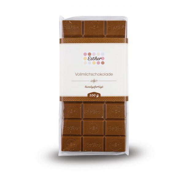 Vollmilchschokolade Schokoladentafel mit 100g der Esther Confiserie aus Kulmbach in Oberfranken