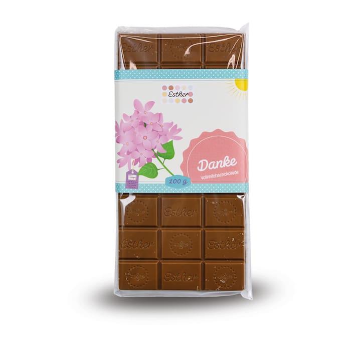 Vollmilchschokolade Danke Schokolade der Esther Confiserie aus Kulmbach in Oberfranken