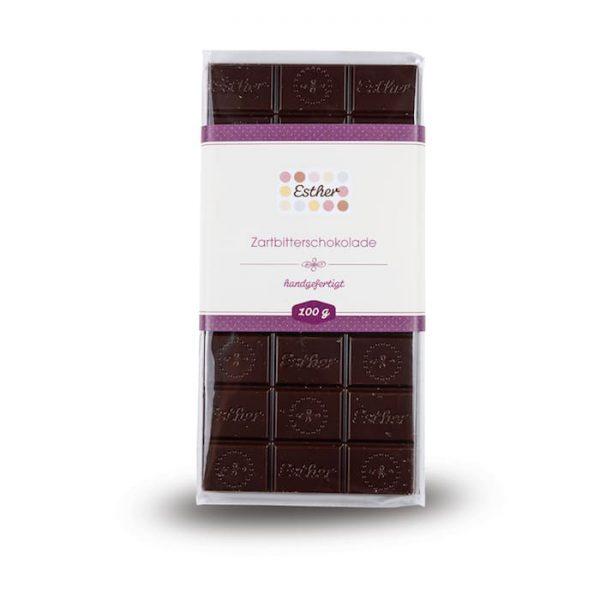 Zartbitterschokolade als 100g Schokoladentafel der Esther Confiserie aus Kulmbach in Oberfranken