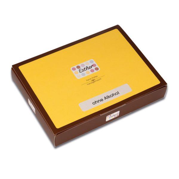 Die geschlossene 8er Geschenkpackung mit unalkoholischen Pralinen und Trüffeln der Esther Confiserie aus Kulmbach in Oberfranken