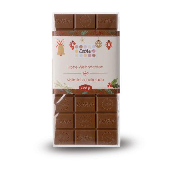 Vollmilchschokolade als Weihnachtsschokolade 100g Schokoladentafel der Esther Confiserie aus Kulmbach in Oberfranken