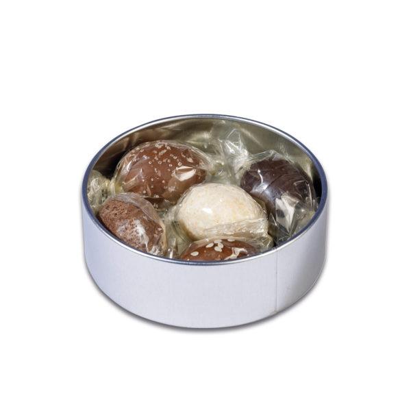 Oster Trüffel Eier in der stylischen Runddose mit 5 verschiedenen Trüffel Eiern der Esther Confiserie