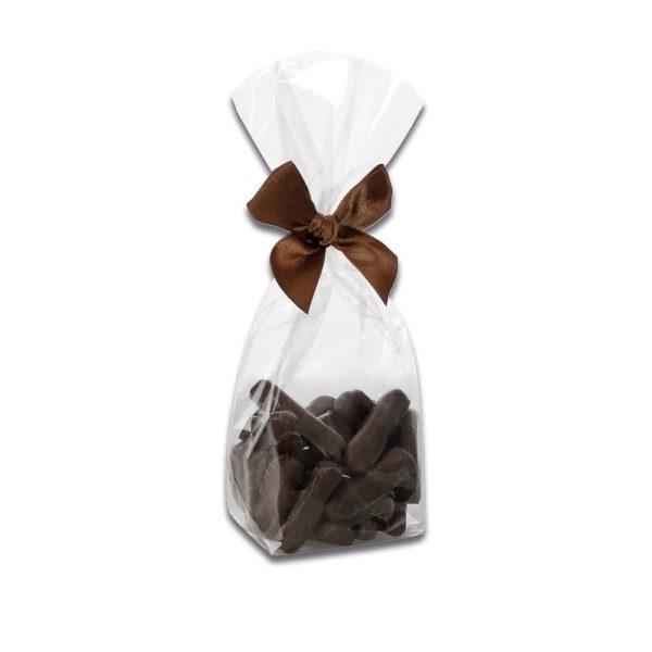150g Beutel Ingwer Stäbchen mit einem Überzug aus Zartbitterschokolade der Esther Confiserie aus Kulmbach