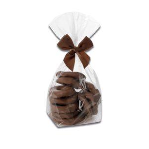 200g Beutel Apfelringe mit einem Überzug aus Vollmilchschokolade der Esther Confiserie