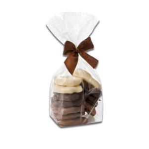 200g Beutel Apfelringe gemischt mit einem Überzug aus Vollmilcschokolade, Zartbitterschokolade und weißer Schokolade der Esther Confiserie aus Kulmbach