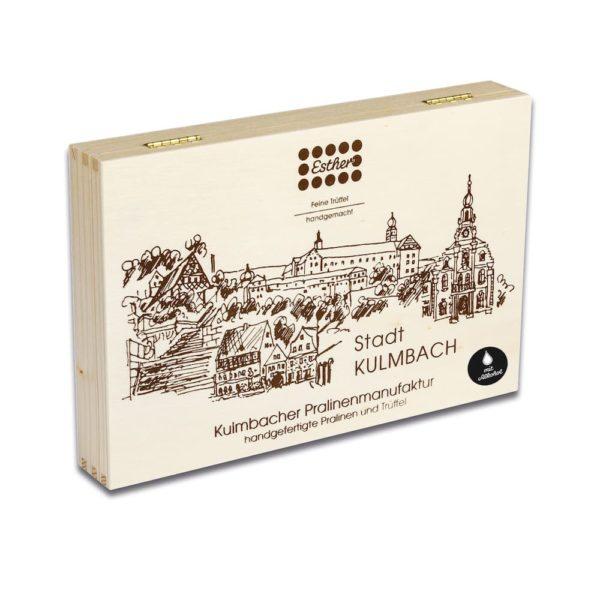 24er Holzkiste mit original Kulmbacher Pralinen und Trüffel mit Alkohol der Esther Confiserie