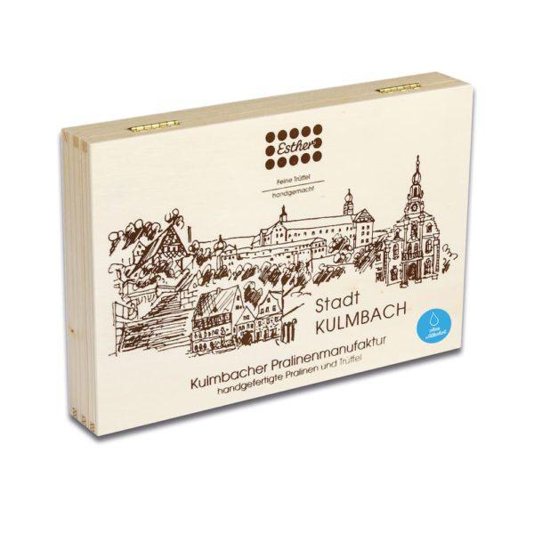 24er Holzkiste mit original Kulmbacher Pralinen und Trüffel ohne Alkohol der Esther Confiserie