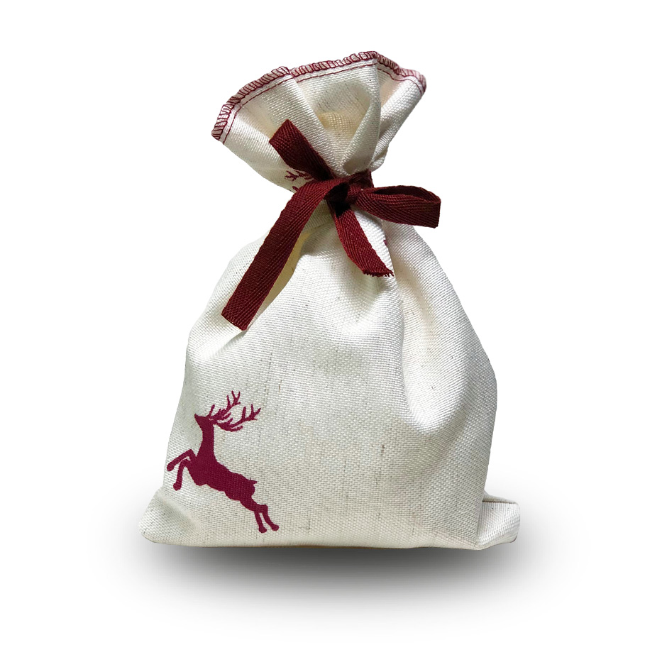 Weihnachtliches Pralinensäckchen mit Rentier Ausdruck und einem Inhalt von 200g Lebkuchen Trüffeln der Esther Confiserie