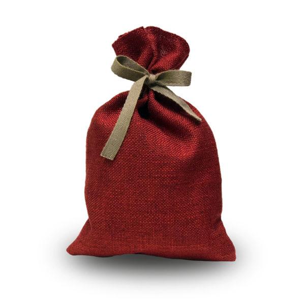 Rotes Weihnachts Prlinensäckchen mit 200g weihnachtlich gemischten Pralinen und Trüffeln der Esther Confiserie