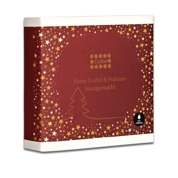 Esther Confiserie 4er Präsentpackung für Winter und Weihnachten mit Alkohol mit köstlichen Trüffeln und Pralinen