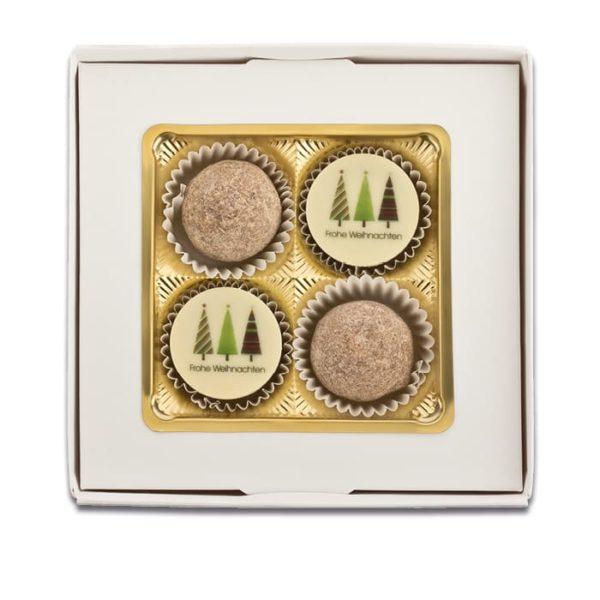 Schachtelinhalt der Esther Confiserie 4er Präsentpackung für Winter und Weihnachten mit Alkohol mit köstlichen Trüffeln und Pralinen