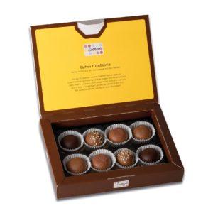 Schachtelinhalt der Esther Confiserie 8er Klassikpackung mit 8 verschiedenen winterlichen und weihnachtlichen Pralinen und Trüffeln ohne Alkohol