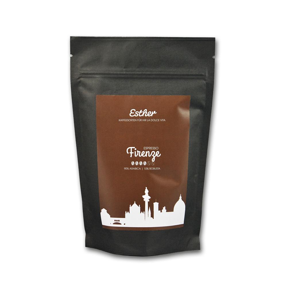 Vorderseite der Verpackung des Esther Espresso Firenze - der facettenreiche Espresso von Esther aus Grafendobrach in Oberfranken