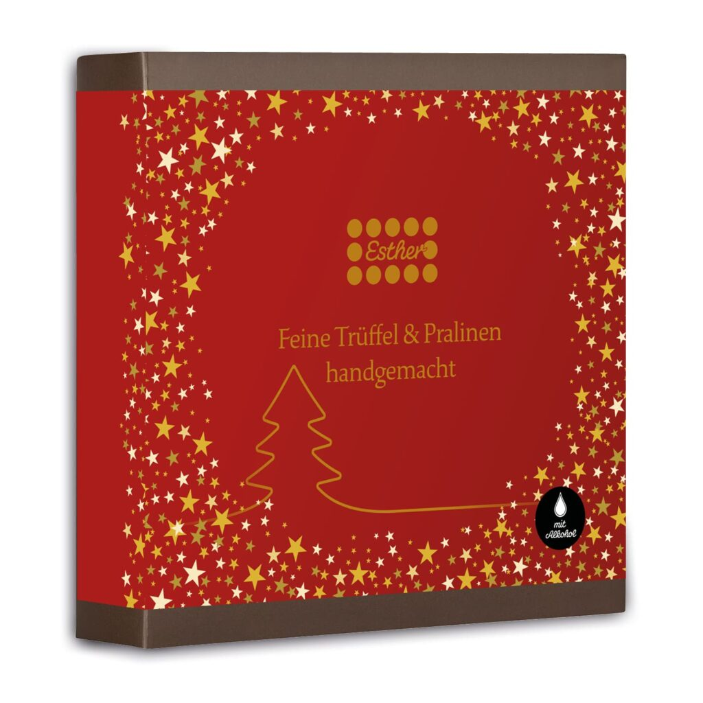 Esther Confiserie 9er Präsentpackung mit neun weihnachtlichen Pralinen und Trüffeln mit Alkohol