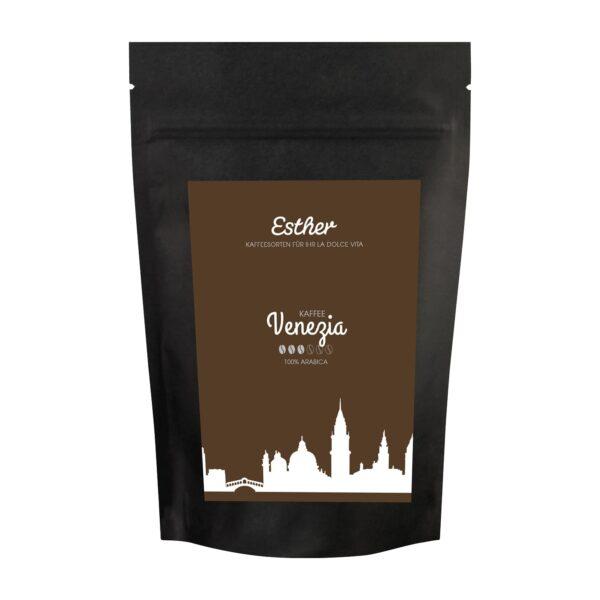 Vorderseite der Verpackung des Esther Kaffee Venezia - der Allrounder Kaffee von Esther aus Grafendobrach in Oberfranken